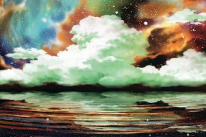 digital art anime water clouds nature sky