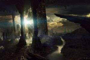 digital art artwork cityscape futuristic city fantasy art