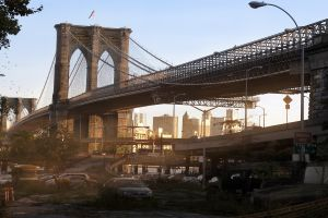 digital art artwork new york city futuristic new jersey deer bridge science fiction brooklyn bridge ruin apocalyptic