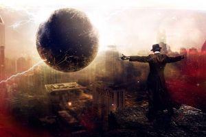 digital art black holes city destruction fantasy art men artwork
