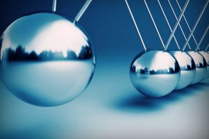 digital art blue background balls