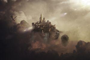 digital art castle dragon fantasy art