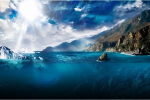 digital art clouds split view landscape nature underwater sunlight artwork sun water iceberg sea