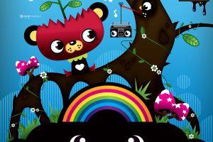 digital art colorful rainbows fantasy art