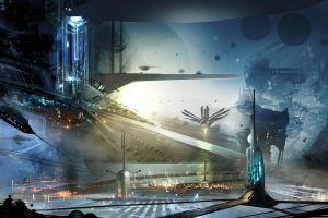 digital art concept art city science fiction futuristic artwork