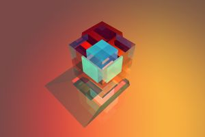 digital art cube geometry facets simple background abstract colorful
