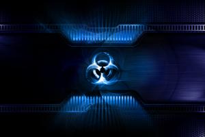 digital art dark biohazard blue artwork
