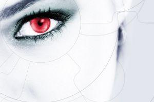 digital art eyes face red eyes
