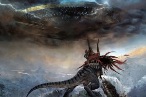 digital art fantasy art concept art artwork dinosaurs space invaders aliens grant morrison