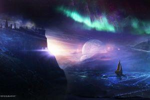 digital art fantasy art sailing ship artwork