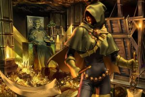 digital art fantasy girl treasure fantasy art women rogue