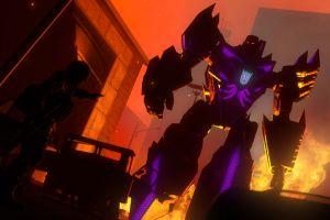 digital art fire futuristic science fiction glowing robot transformers destruction