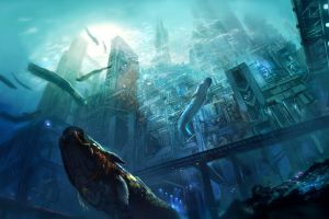 digital art futuristic city concept art underwater fantasy art sea artwork