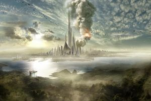 digital art futuristic science fiction futuristic city