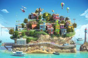 digital art island sea artwork colorful