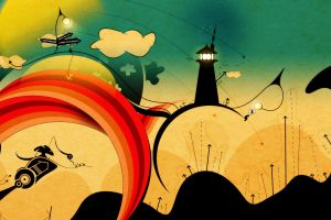 digital art lighthouse abstract painting
