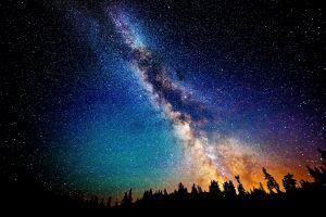 digital art milky way trees stars sky space night landscape space art nature