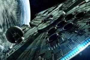 digital art millennium falcon spaceship star wars space movies