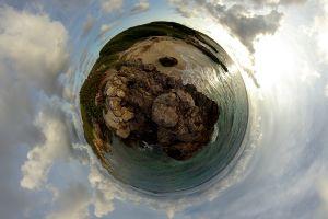 digital art nature panoramic sphere sea