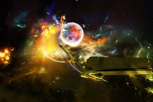 digital art planet artwork explosion spaceship space art space