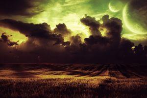 digital art planet sky field stars clouds
