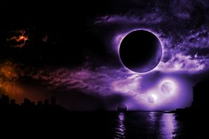 digital art purple night water space art dark fantasy dark moon kansas city space colorful sky planet fantasy art