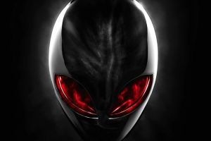 digital art red eyes alienware skull