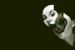 digital art robot science fiction face futuristic simple background