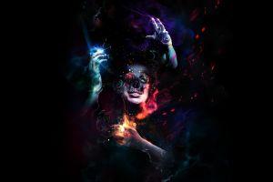 digital art skull abstract women fantasy art
