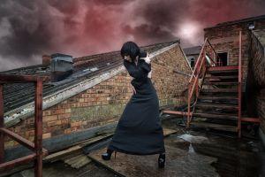 digital art sky rooftops women women outdoors stairs high heels