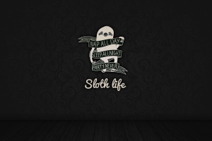 digital art sloths pattern typography simple background quote monochrome