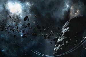 digital art space asteroid space art