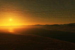 digital art space engine river sun hills landscape