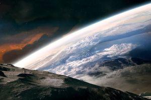 digital art space planet science fiction space art astronaut artwork