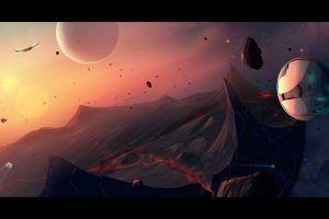 digital art space spaceship science fiction