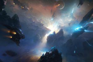digital art spaceship fantasy art science fiction futuristic artwork planet space