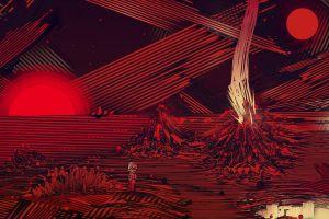digital art surreal volcano lines matei apostolescu circle artwork