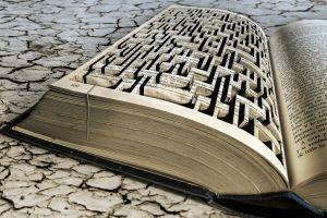digital art text books beige mazes
