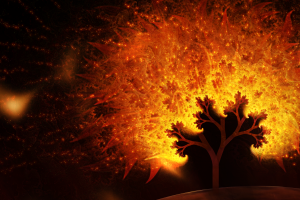 digital art trees abstract fire