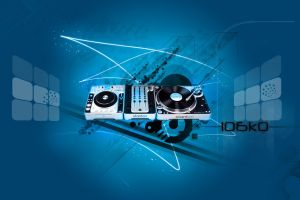 digital art turntables blue background music