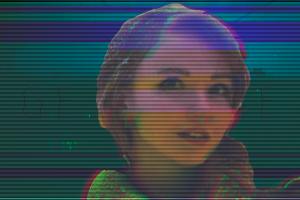 digital art vaporwave women face