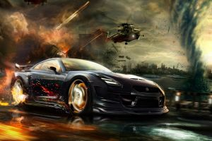 digital art vehicle fire cgi nissan gt-r car explosion render helicopters