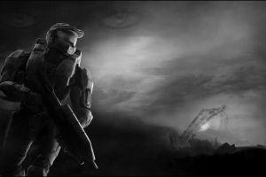 digital art video games halo monochrome