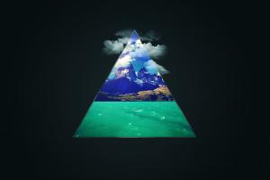digital art water triangle clouds