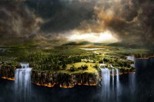 digital art waterfall fantasy art landscape
