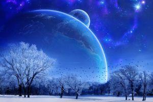 digital art winter trees planet space art sky