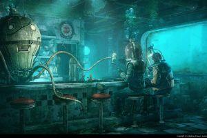 diner fantasy art restaurant underwater milkshake futuristic coca-cola robot octopus science fiction cyan