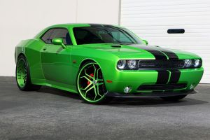 dodge challenger green cars front angle view vehicle car