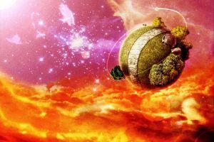 dragon ball king kai's planet stars anime dragon ball z clouds