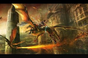 dragon fantasy art flying
